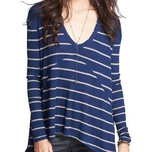 Free People Sunset Park Waffle Knit Stripe Thermal